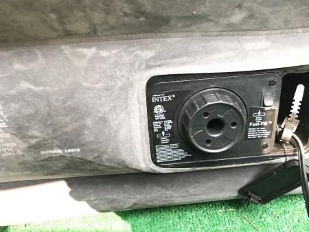 An Intex pump on an air mattress.