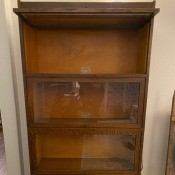 Age of a Globe-Wernicke Legal Bookcase? - bookcase with the top lift and slide glass door open