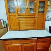 Value of Antique Hoosier Cabinet? - light hoosier cabinet, probably oak