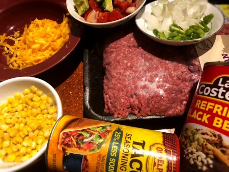 Ingredients for Super Stuffed Beef Burrito