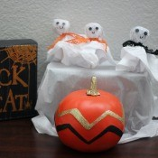 Ghost Candy & Display Stand - ghost display part of a Halloween decoration including a sign and pumpkin