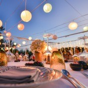 A wedding with beautiful decorations.
