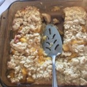 A baking pan of cooked peach bars.