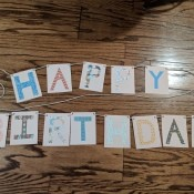 Happy Birthday Cut Letter Banner - finished banner lying on the floor