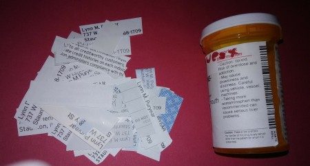 Labels cut out of junk mail and medicine bottles.