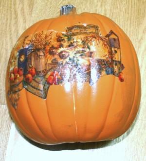Pumpkinscape - decoupaged pumpkin