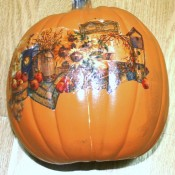 Pumpkinscape - decoupaged pumpkin