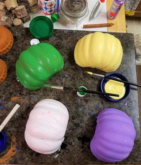 Non-Traditional Foam Pumpkin Halves - paint the pumpkin halves