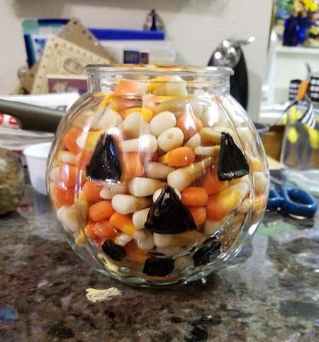 Jack O' Lantern Candy Dish - eyes, nose, and mouth painted black