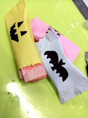 Trick or Treat Candy Surprise Paper Wraps  - 3 wraps, one monster face, a bat, and perhaps a Frankenstein monster