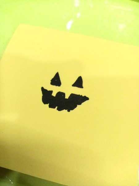 Trick or Treat Candy Surprise Paper Wraps - draw a monster face in the center of the note