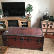A red-brown vintage wardrobe trunk