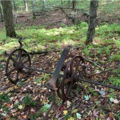 Identifying Old Farm Equipment? - rusty piece of equipment with 3 wheels
