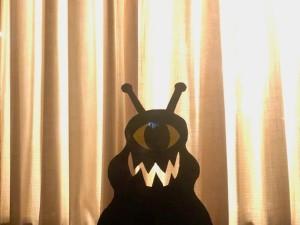 Cardboard Window Monster - closeup of monster