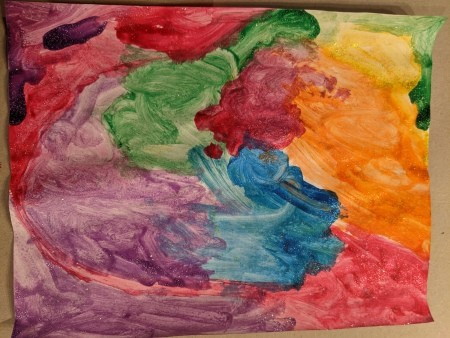 Rainbow Unicorn Wall Decoration - colorful painted art piece made by child