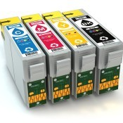 A collection of printer ink cartridges.