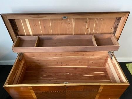 The inside of a cedar hope chest.