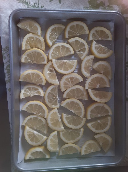 Lemon slices on a cookie sheet.