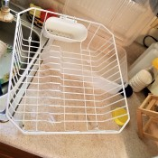 A dish drainer with no bottom tray.