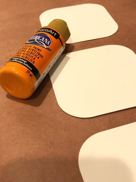 Pumpkin Wall Decoration - rounded corner squares and bottle of orange paint