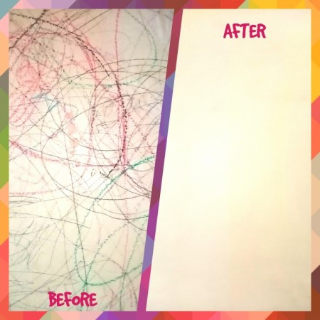 A before and after photo of cleaning writing on a wall.