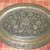 An ornate copper platter.