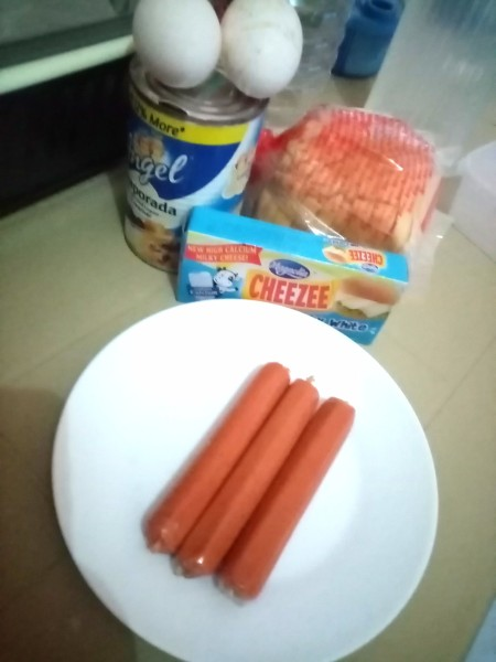 Ingredients for making baked cheese sandwich.
