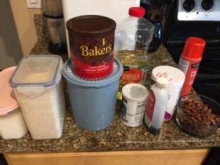 Ingredients for pinto bean brownies.