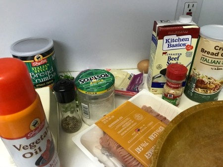 Ingredients for French onion meatballs.