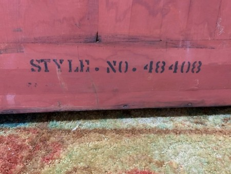 The back of a chest with a style number.
