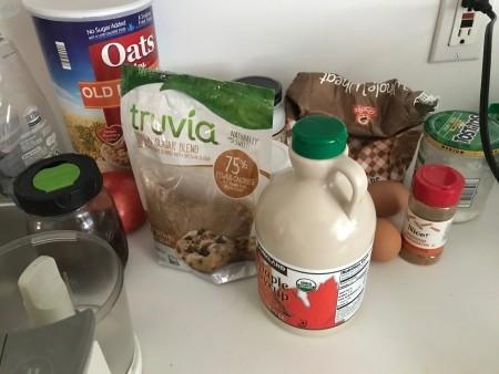 Ingredients for apple oatmeal breakfast loaf.