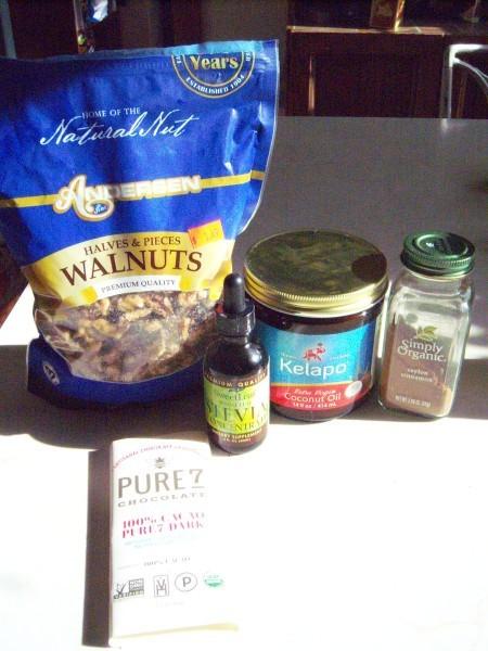 Ingredients for making chocolates.
