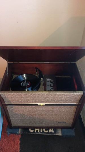 A Sylvania console stereo system.
