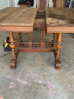An ornate wooden table.