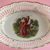 A decorative china tray or basket.