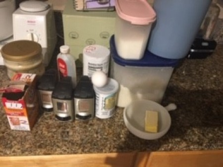 Ingredients for sourdough cinnamon muffins