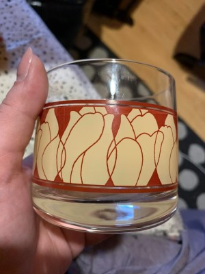 Identifying Barware Glasses? - glass with red and tan decorative band