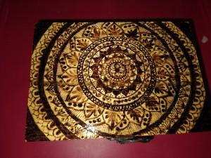 Woodburned Mandala Box - mandala design on the top of the box