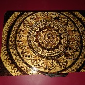 Woodburned Mandala Box - mandala design on the top of the box