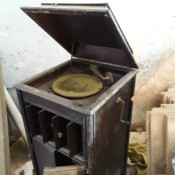 An antique record player.
