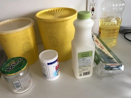 Ingredients for homemade waffles.