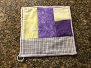 Quilted Hot Pad - finished pot holder with ring hanger added