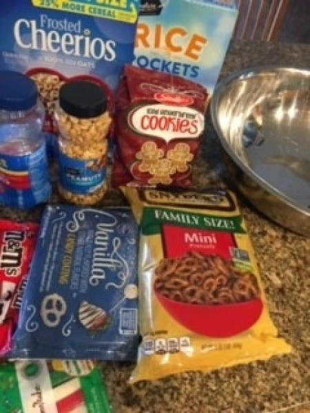 Ingredients for gingerbread Chex mix.
