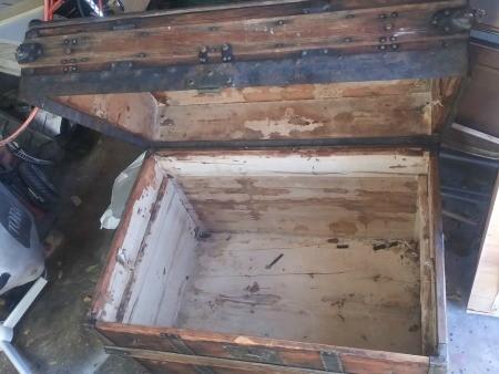 An open wooden chest.
