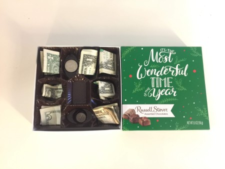 A candy box filled with money instead of chocolate.