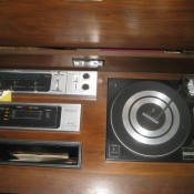 A console stereo system from the top.