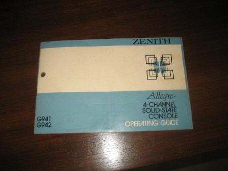 The label on a Zenith Allegro console stereo system.