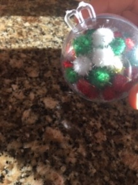 Mini Gumball Machine Christmas Ornament - ornament filled with white, green, and red pom poms