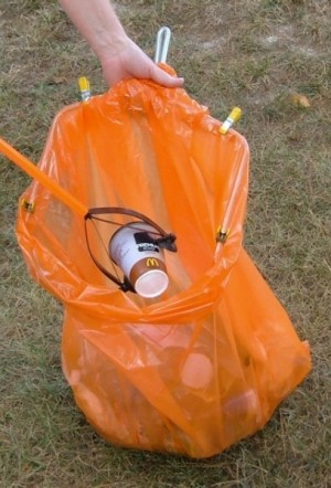 Bag Holder for Picking Up Litter - adding a McDonald's cup to the bag