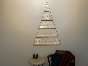 The completed advent calendar on the wall.